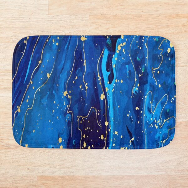 gold and blue marble Bath Mat