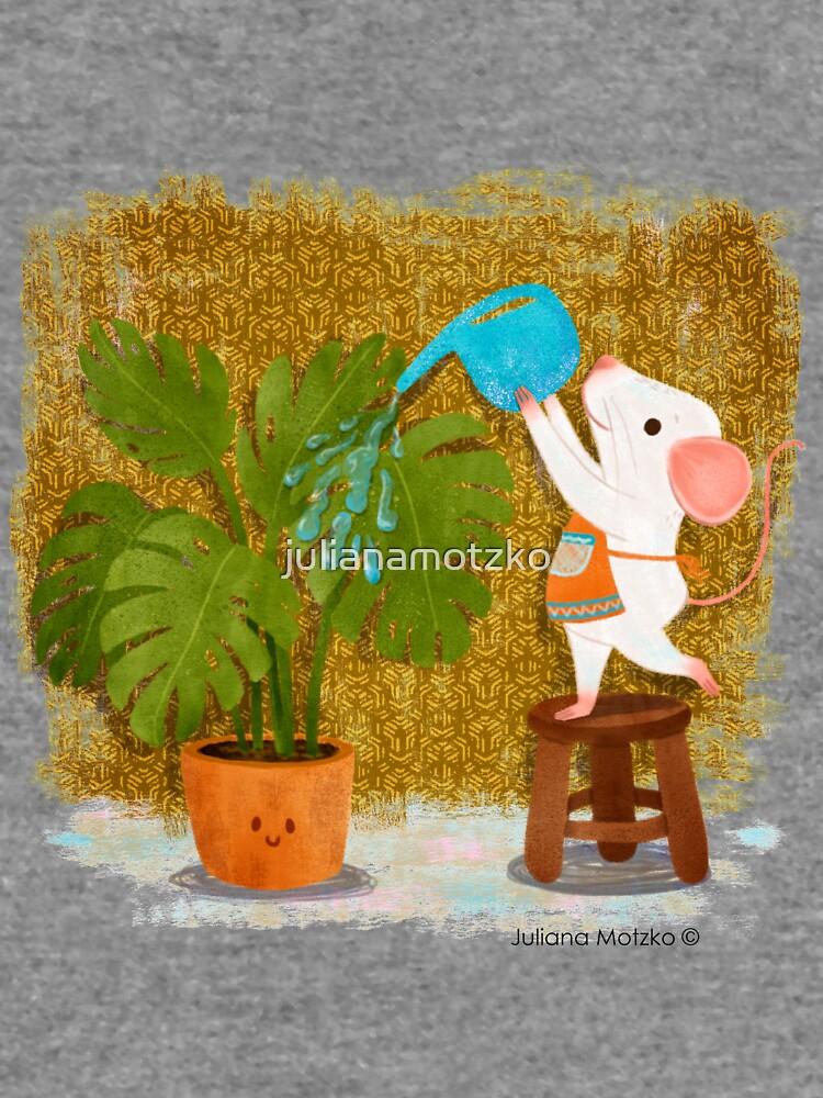 Mice watering the plants by julianamotzko