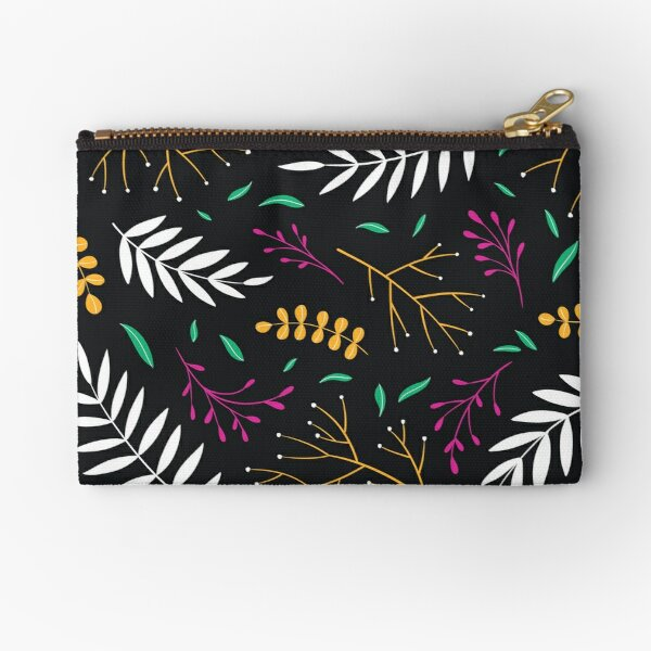 Abstract Leaves Plants Pattern Multicolor Dark Zipper Pouch