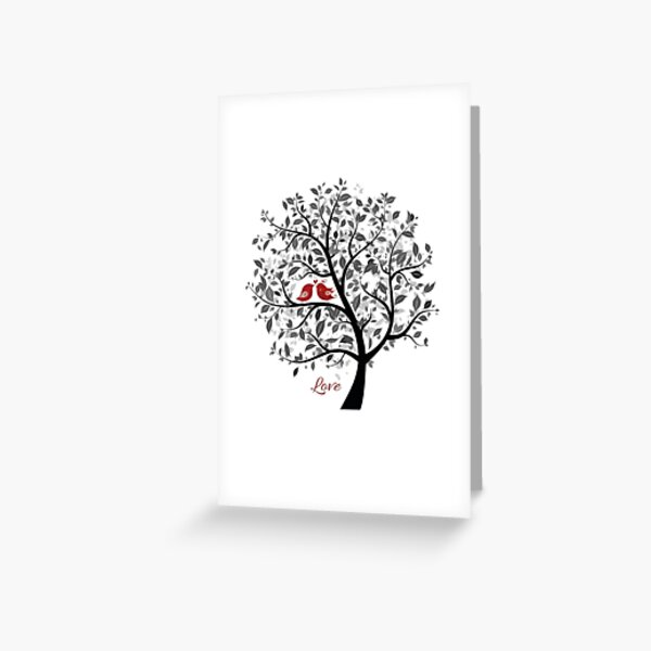 Love Birds in a Tree Greeting Card