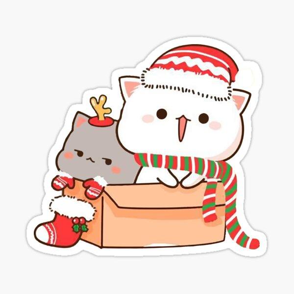 Mochi Mochi Peach Cat - Peach y Goma Christmas Pegatina