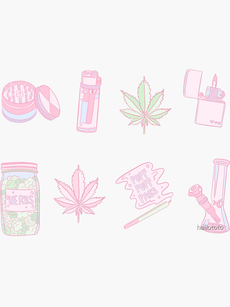 Kawaii 420 Stoner Sticker Set  by hellototo