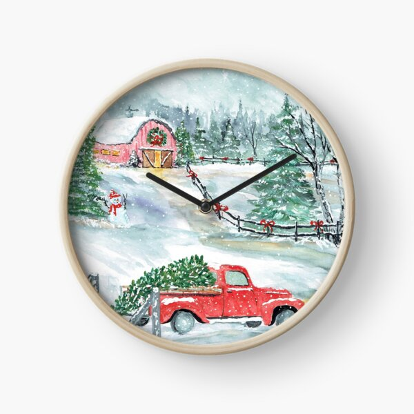 Red Truck Christmas Scene Clock