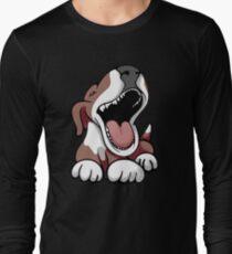 Laughing Bull Terrier White & Brown Long Sleeve T-Shirt