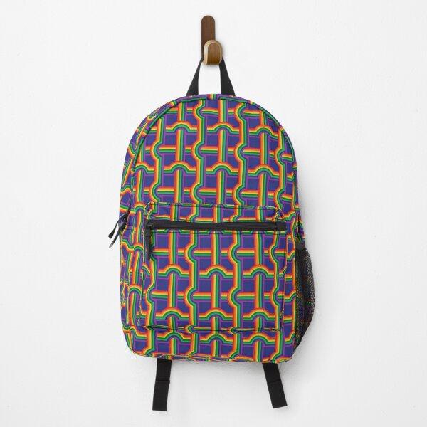 Scandi Midcentury Modern Retro Geometric Rainbow Grid Blue Checks Pattern Backpack