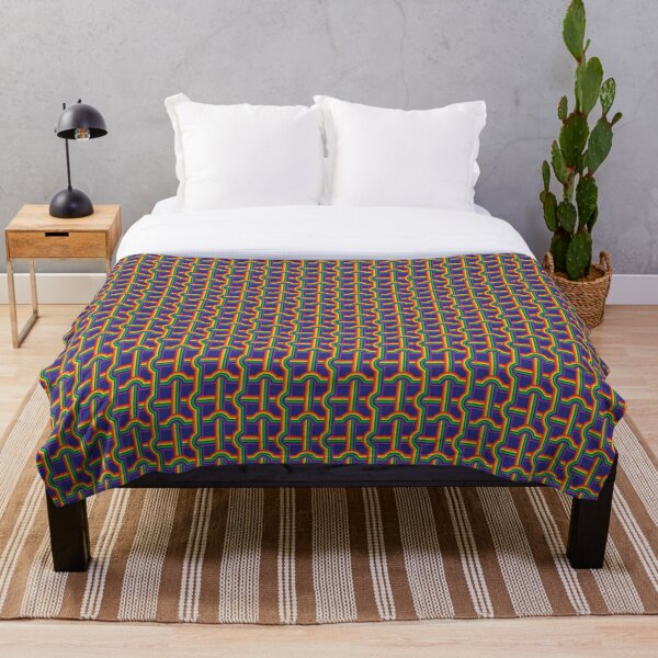 Scandi Midcentury Modern Retro Geometric Rainbow Grid Blue Checks Pattern Throw Blanket