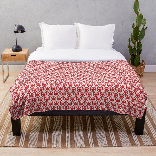 Scandi Midcentury Modern Retro Geometric Tomatoes Pattern Throw Blanket