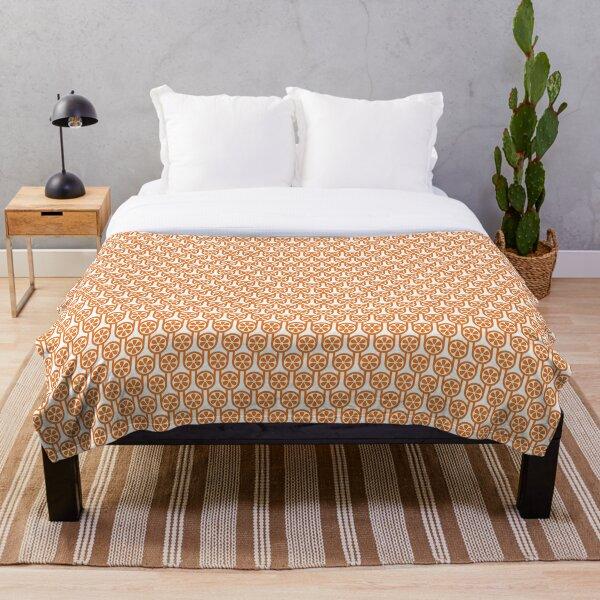 Scandi Midcentury Modern Retro Geometric Oranges Pattern Throw Blanket
