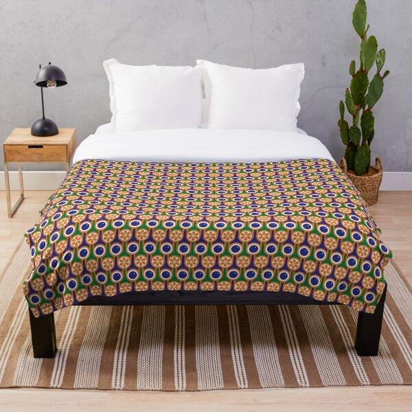Scandi Midcentury Modern Retro Geometric Blueberries Oranges Pattern Throw Blanket