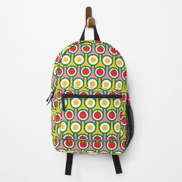 Scandi Midcentury Modern Retro Geometric Eggs Tomatoes Pattern Backpack