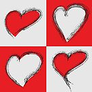 Four Silver and Red Hand Drawn Hearts by Pamela Maxwell