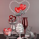 You & Me In Love Red Platinum Valentine Hearts by Beverly Claire Kaiya