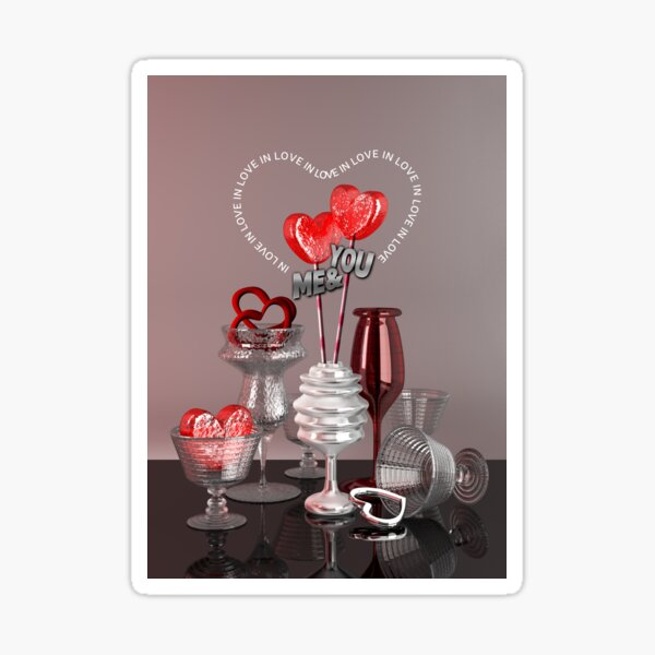 You & Me In Love Red Platinum Valentine Hearts Glossy Sticker