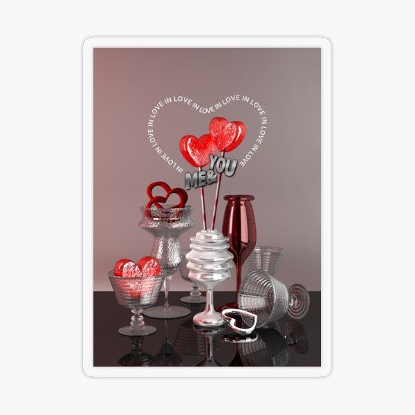 You & Me In Love Red Platinum Valentine Hearts Transparent Sticker