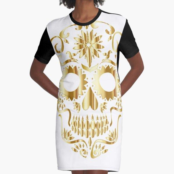 Gold sugar skull Graphic T-Shirt Dress