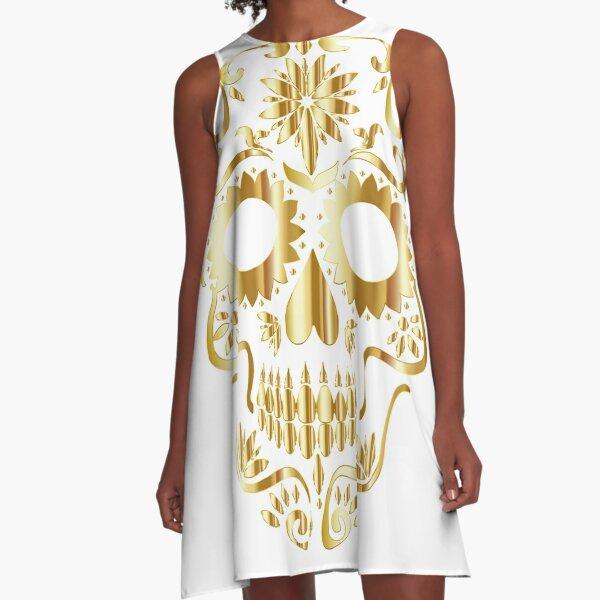 Gold sugar skull A-Line Dress