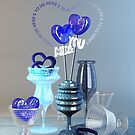 Here's to Us Royal Blue Glass Valentine Hearts by Beverly Claire Kaiya