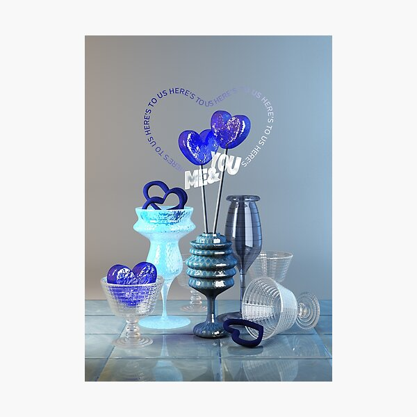Here's to Us Royal Blue Glass Valentine Hearts Photographic Print