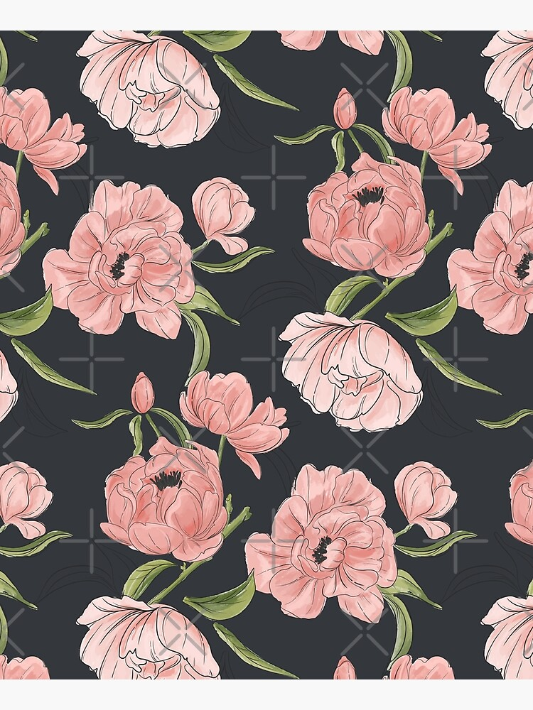 Modern floral peony pattern by Milatoo