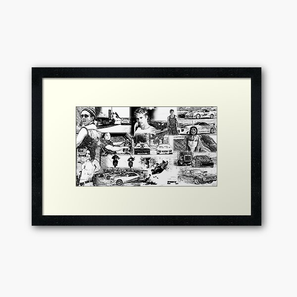 The Fast and the Furious Collage Framed Art Print