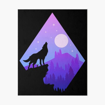 Wolf Howling At The Moon-Night Mountain Background Art Board Print