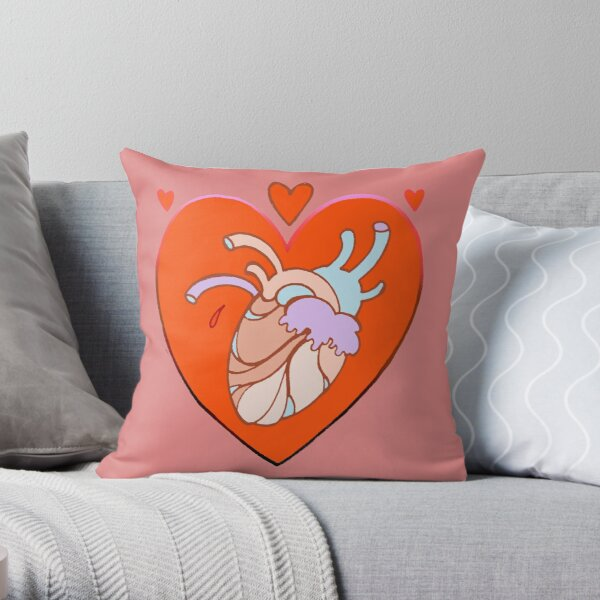 heart in heart, valentine tattoo art Throw Pillow