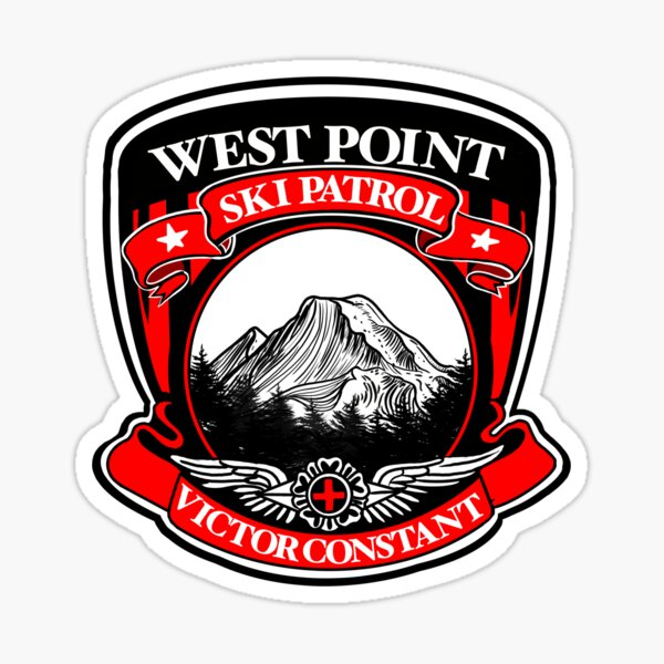 Black and Red SKIP crest Sticker