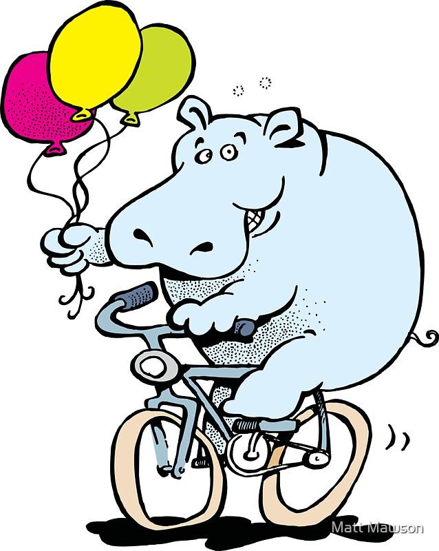 Quot Hippo On A Bike Quot Stickers By Matt Mawson Redbubble