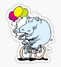 hippo on a bike Sticker