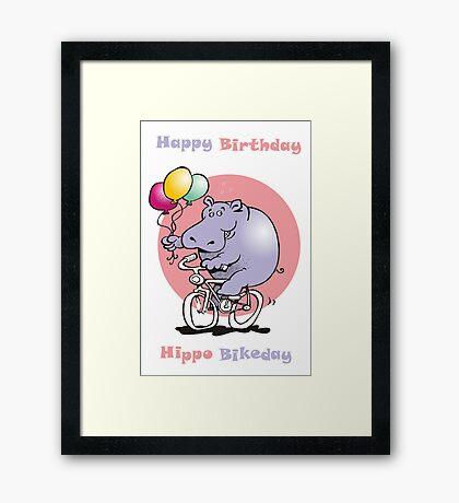 hippo on a bike Framed Print