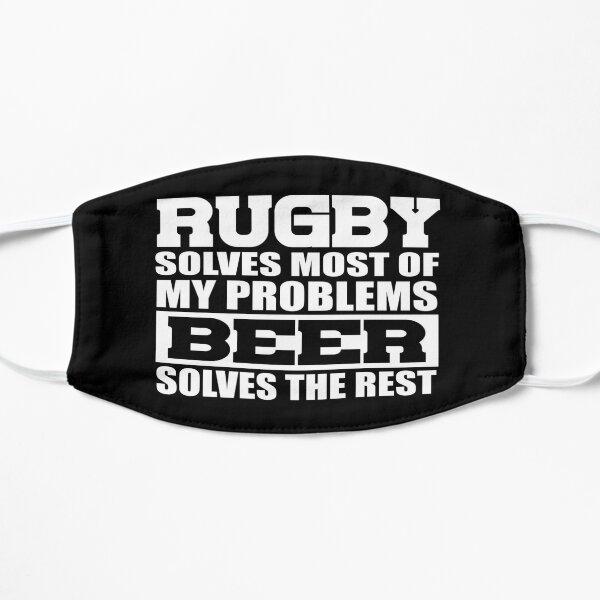 El rugby resuelve la mayoría de mis problemas: humor divertido del rugby Mascarilla plana