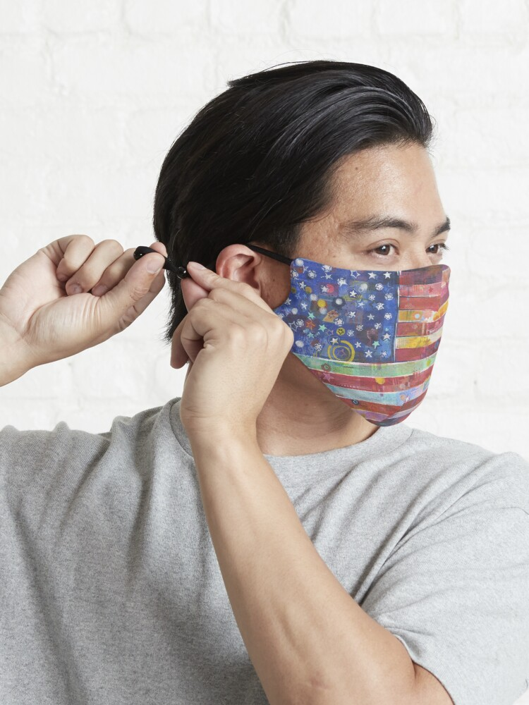 Alternate view of Rainbow American Flag Painting - 2020 Mask