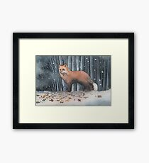 Red Fox in a Snowstorm Framed Print