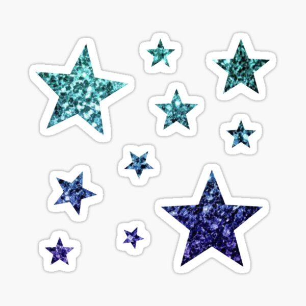 Teal Dark Blue Ombre Glitter Stars Sticker