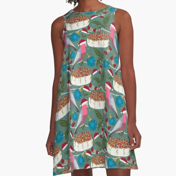 Christmas Australian Gallah Parrot Cockatoo A-Line Dress