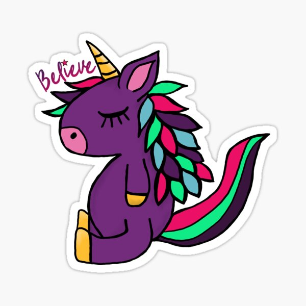 Lil Critters:  Punky The Unicorn Believe Sticker