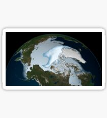 Planet Earth showing sea ice coverage in 2012. Sticker