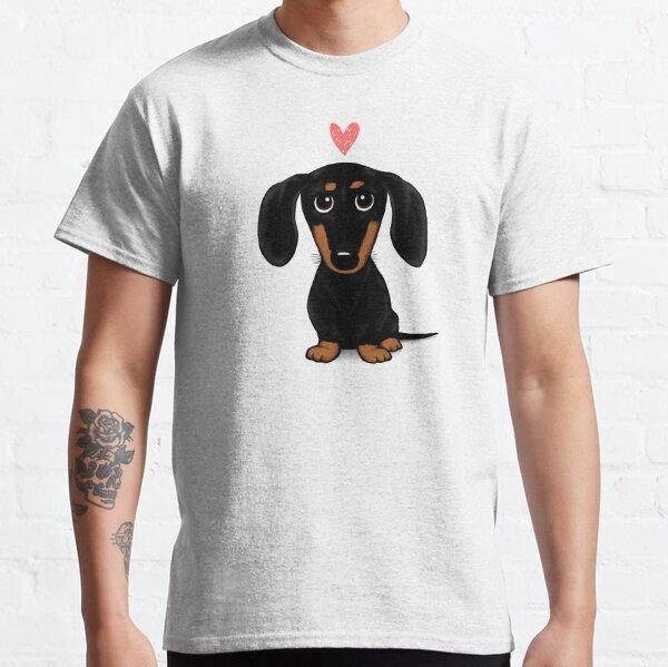 Schwarz und Tan Dackel mit Herz | Netter Cartoon Wiener Hund Classic T-Shirt