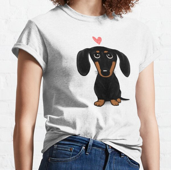 Black and Tan Dachshund with Heart | Cute Cartoon Wiener Dog Classic T-Shirt