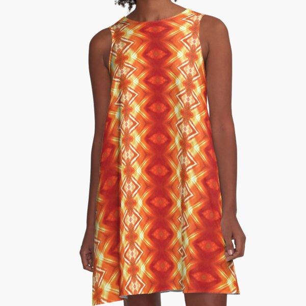 Orange Flower Diamond  A-Line Dress
