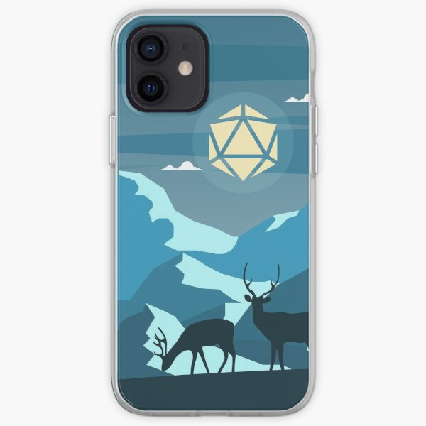 Night Mountain Hike Polyhedral D20 Dice Moon with Deers RPG Landscape iPhone Soft Case