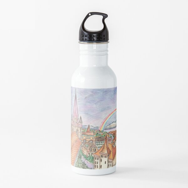 Rooftops over Lausanne  Water Bottle