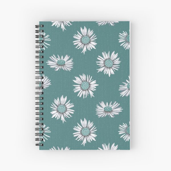 White-green asters on green Spiral Notebook