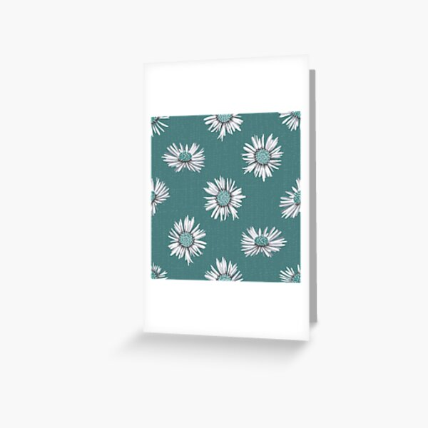 White-green asters on green Greeting Card