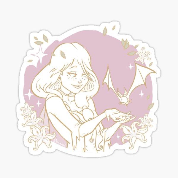 Sorcière verte - Chauve-souris violette Sticker