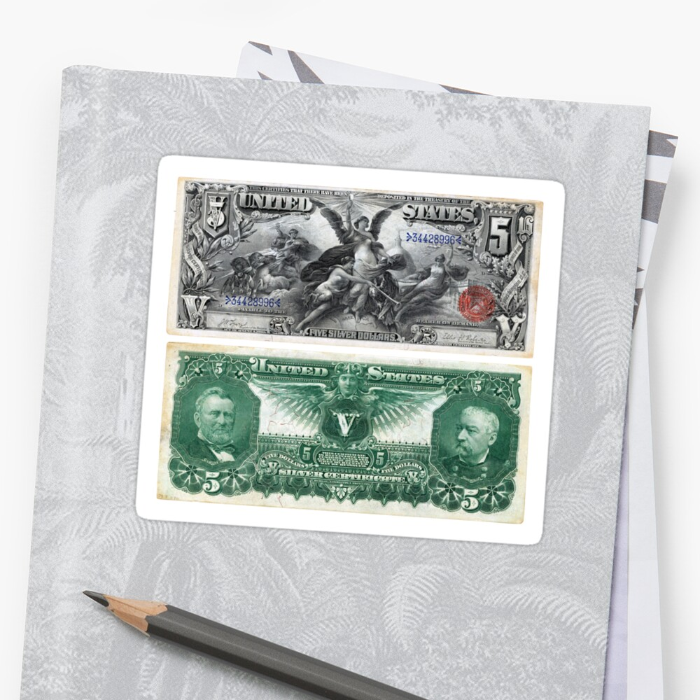5 Five Dollar Bill Silver Certificate Series Of 1896 Stickers By