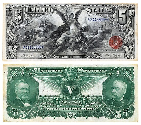 $5 (Five Dollar Bill) Silver Certificate Series of 1896\