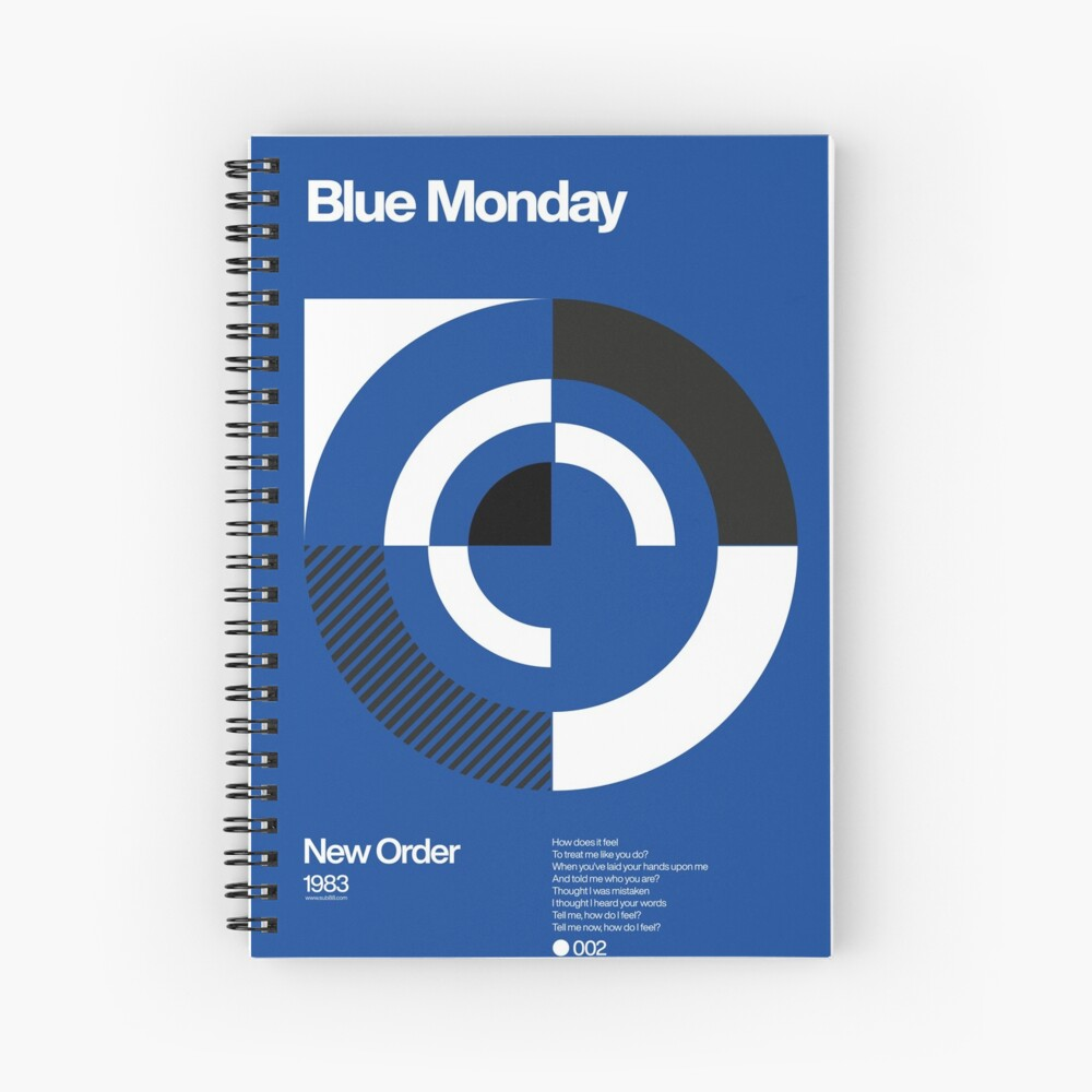 Blue Monday - New Order Typographic Poster Spiral Notebook