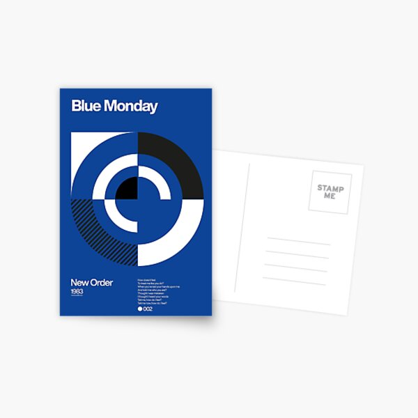 Blue Monday - New Order Typographic Poster Postcard