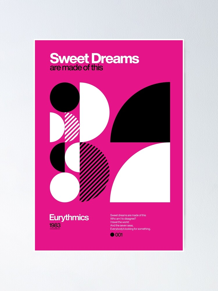 Alternate view of Sweet Dreams (Are Made of This) - Eurythmics Typographic Poster Poster